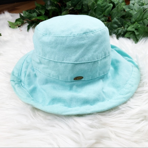 5dccd30da0851 Scala Teal Blue Packable Sun Bucket Hat Cotton. M 5c6dabbd035cf1623f3624f2